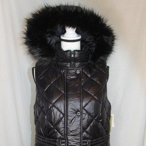 Michael Kors Quilted Puffer Hooded Vest Faux Fur